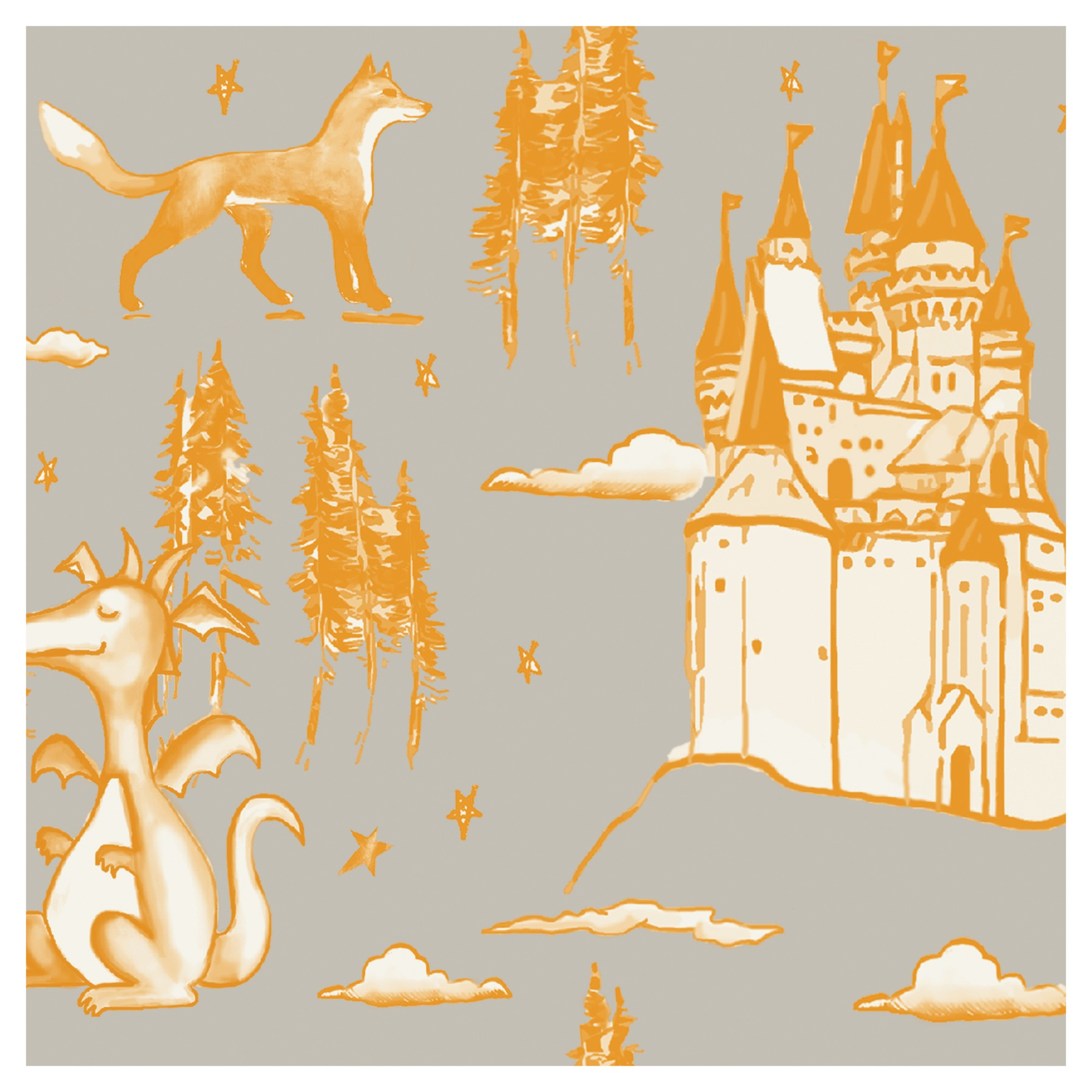 Tempaper Kids Medieval Toile SelfAdhesive Removable