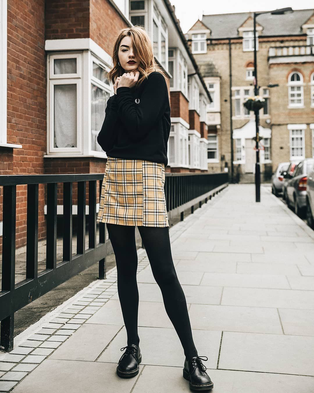 2468b2ee8ce3 UO Mustard Yellow Checked Pelmet Skirt | Urban Outfitters | Women's |  Bottoms | Skirts via @hannahlouisef #UOEurope #UrbanOutfittersEU #UOonYou