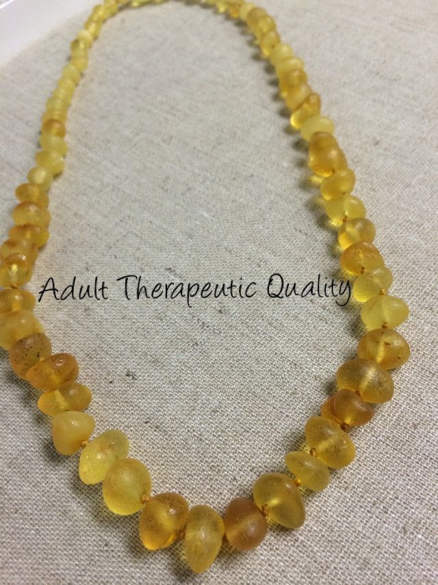 Raw unpolished 18 inch Lemon Baltic Amber Necklace for Big Kid, Child, Teen, or Adult