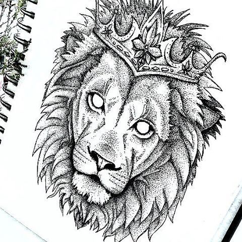Dotwork Empty Eyed Lion In Crown Tattoo Design Doodling