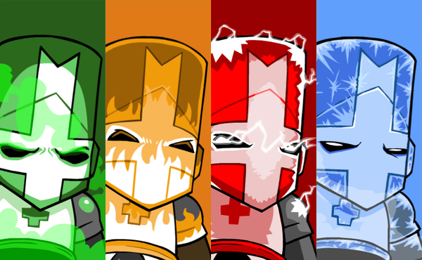Green Orange Red And Blue Knight Castle Crashers Classic Castle Crashers Castle Game Art
