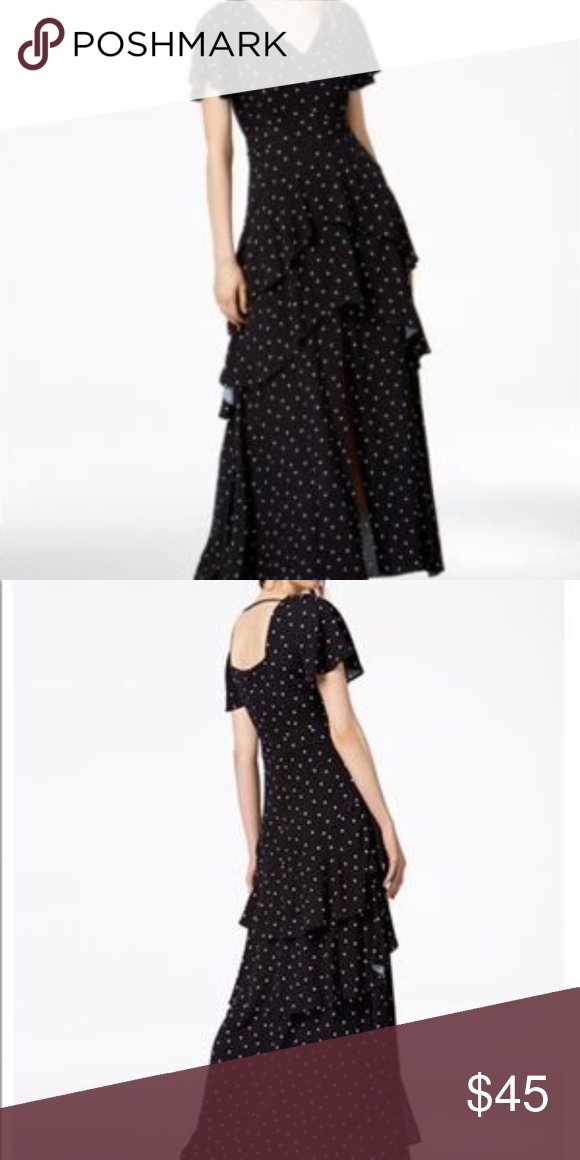 bar III Womens Dot A-line Maxi Dress