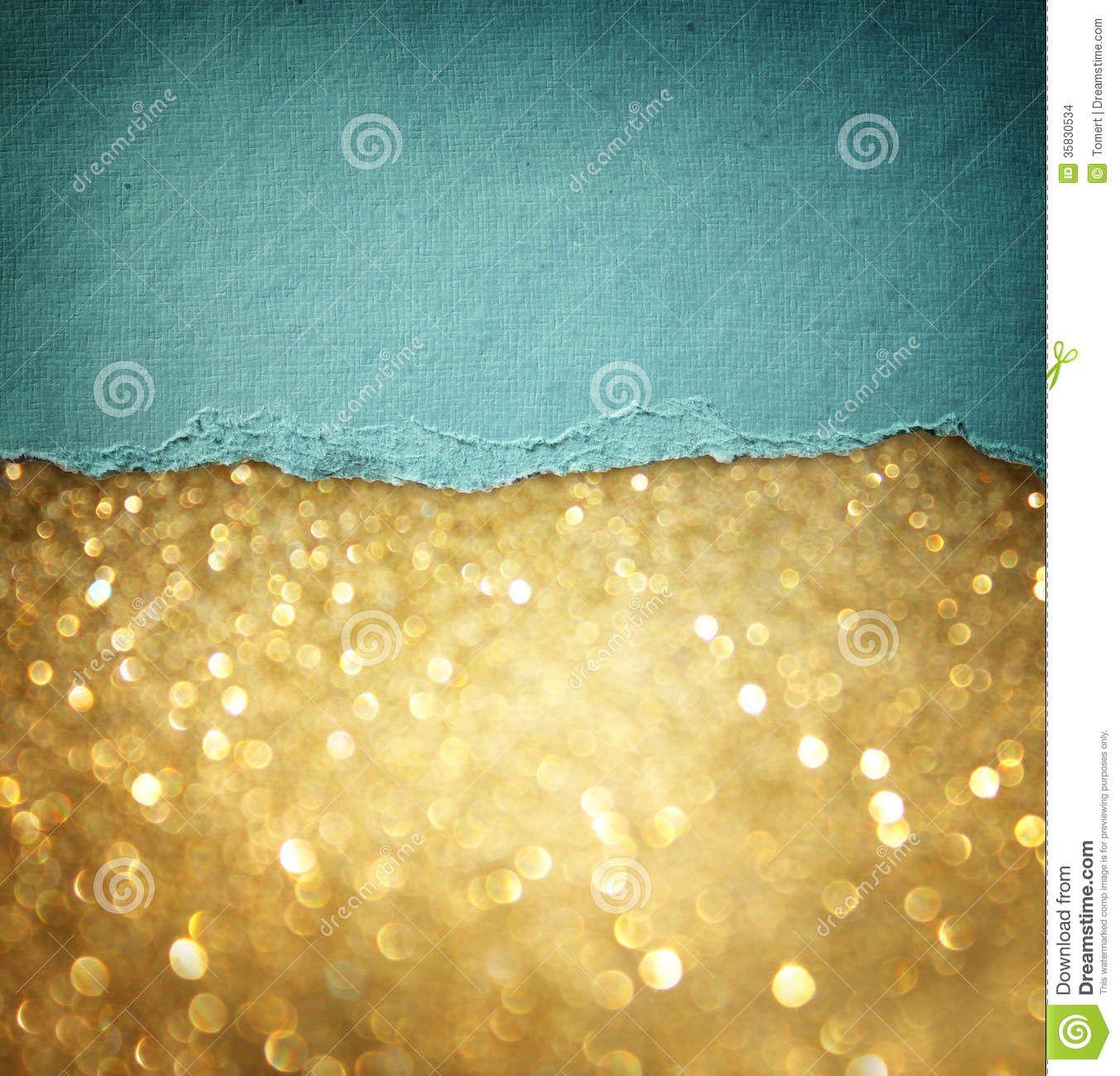 Gold glitter background and blue vintage torn paper . room for copy ...