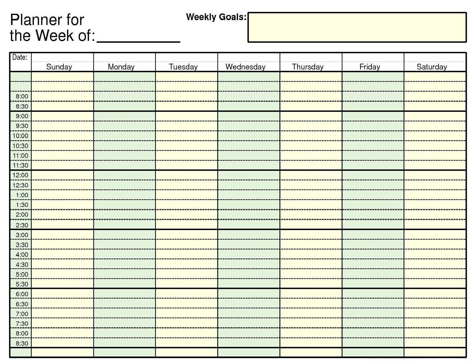 Daily Calendar Template Daily Weekly Calendar Template