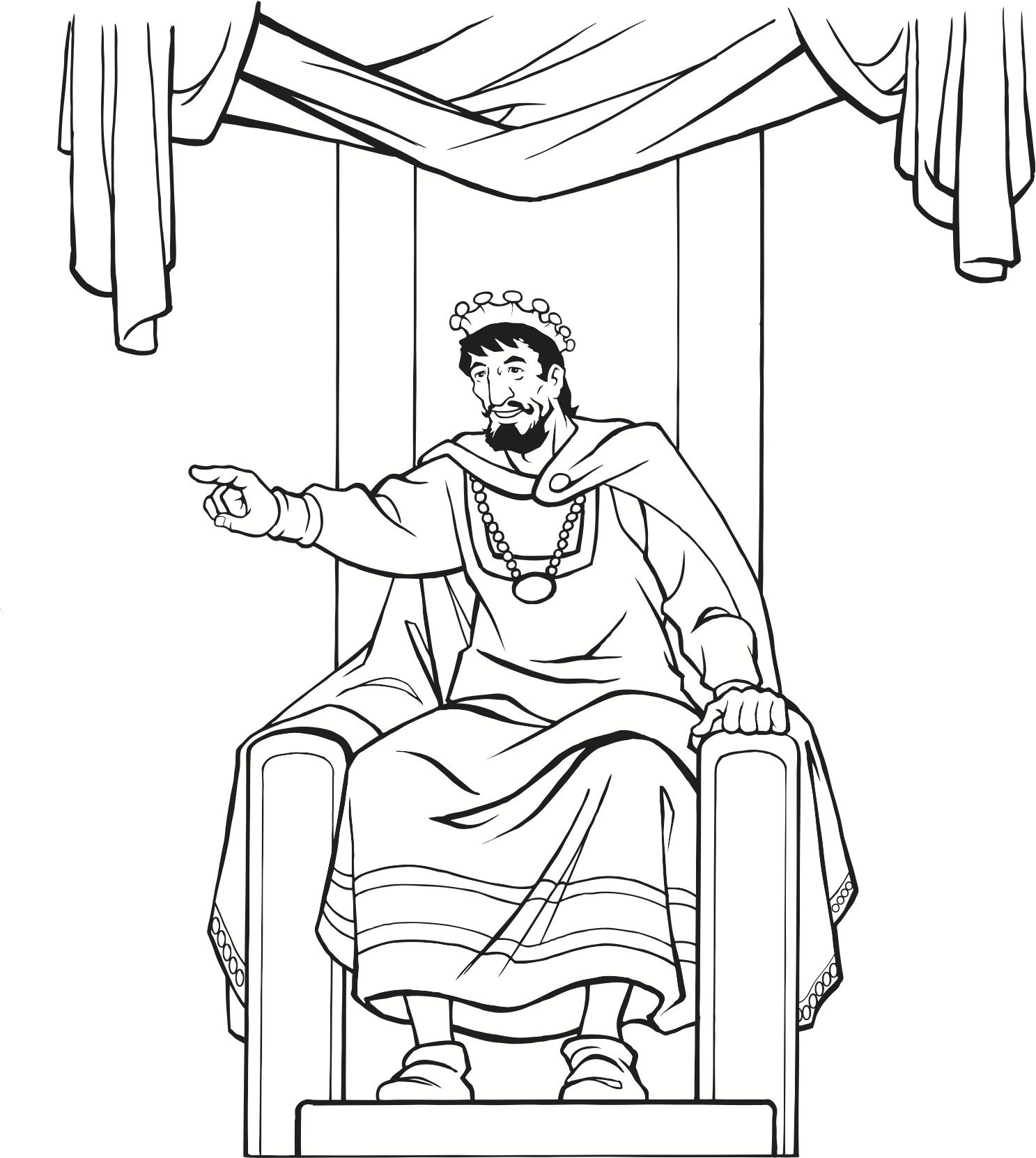 Childrens coloring sheet of saul and ananias - Medieval King On Throne Coloring Page