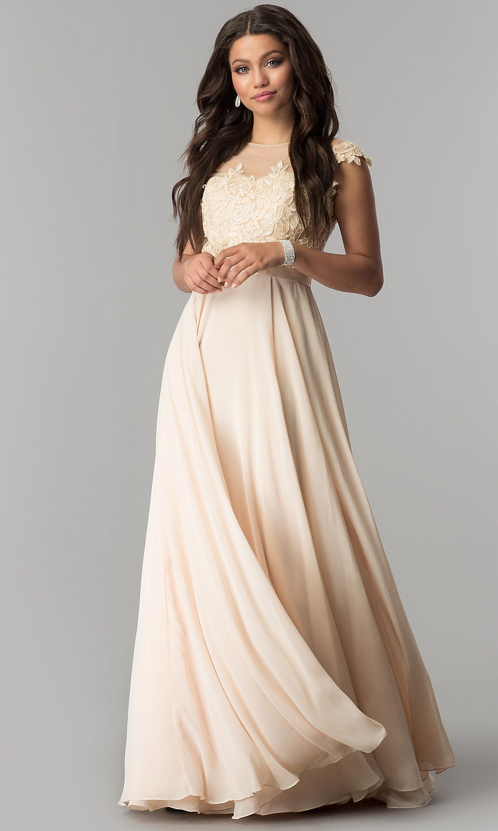 Long Chiffon Prom Dress with Embroidery - PromGirl
