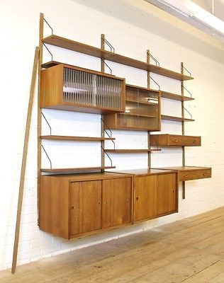 High Quality Vintage Danish PS System Teak Wall Unit/Shelving/Cabinets, 1960s Retro  Storage