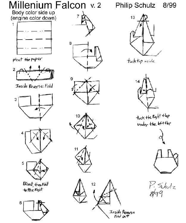 Millennium Falcon Craftorigami Pinterest Star Wars Origami