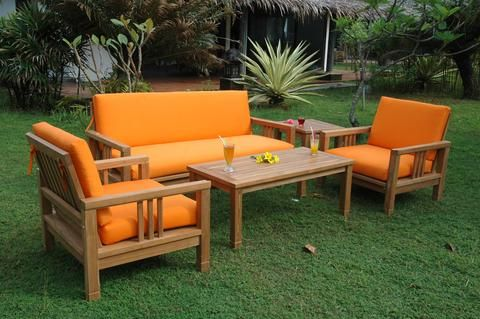 SouthBay Deep Seating Teak Furniture 5-Piece Sofa Set