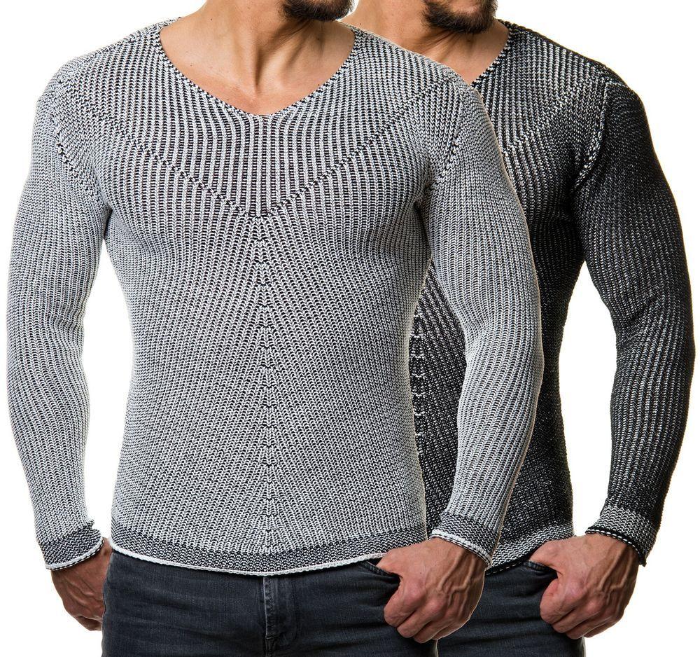 Jesse James 1563 Herren Strick Pullover Sweater Fitness Pulli Muskel Body  Fit