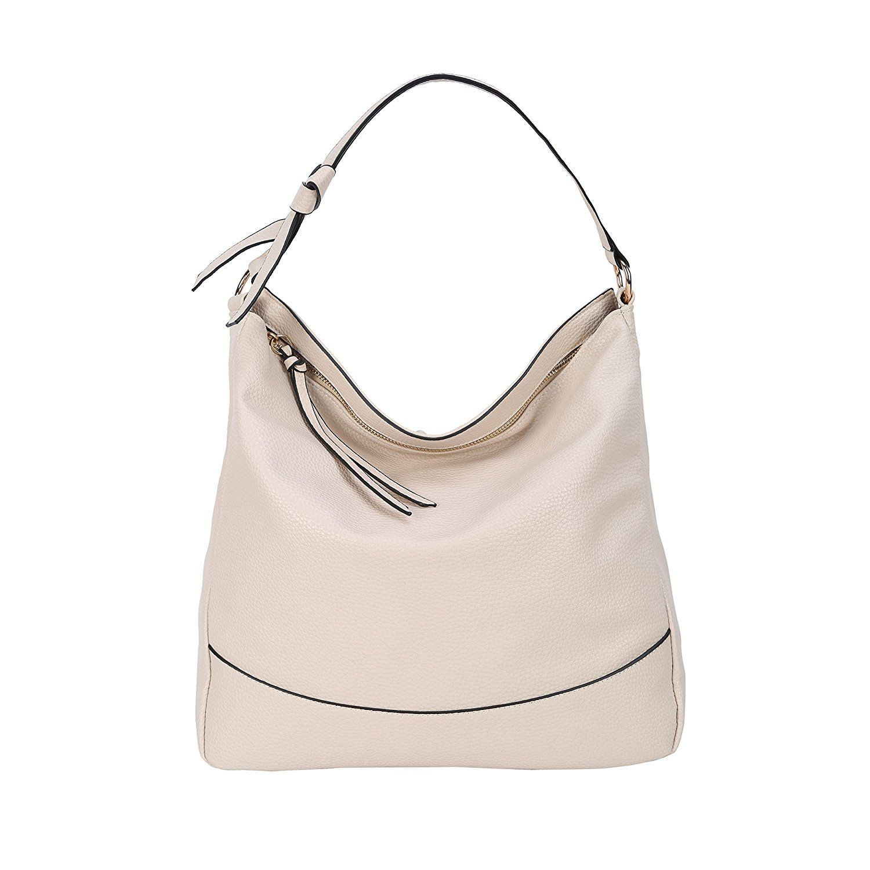 52650912b055 Amazon.com  Women Hobo Handbags Shoulder Bag PU Leather Soft Simple Designer  Large Capacity Tote for Ladies (White)  Shoes