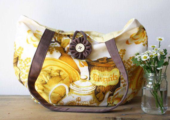 Vintage Kitchen Teapot Tote Market Bag by ObeliaDesign on Etsy, $50.00