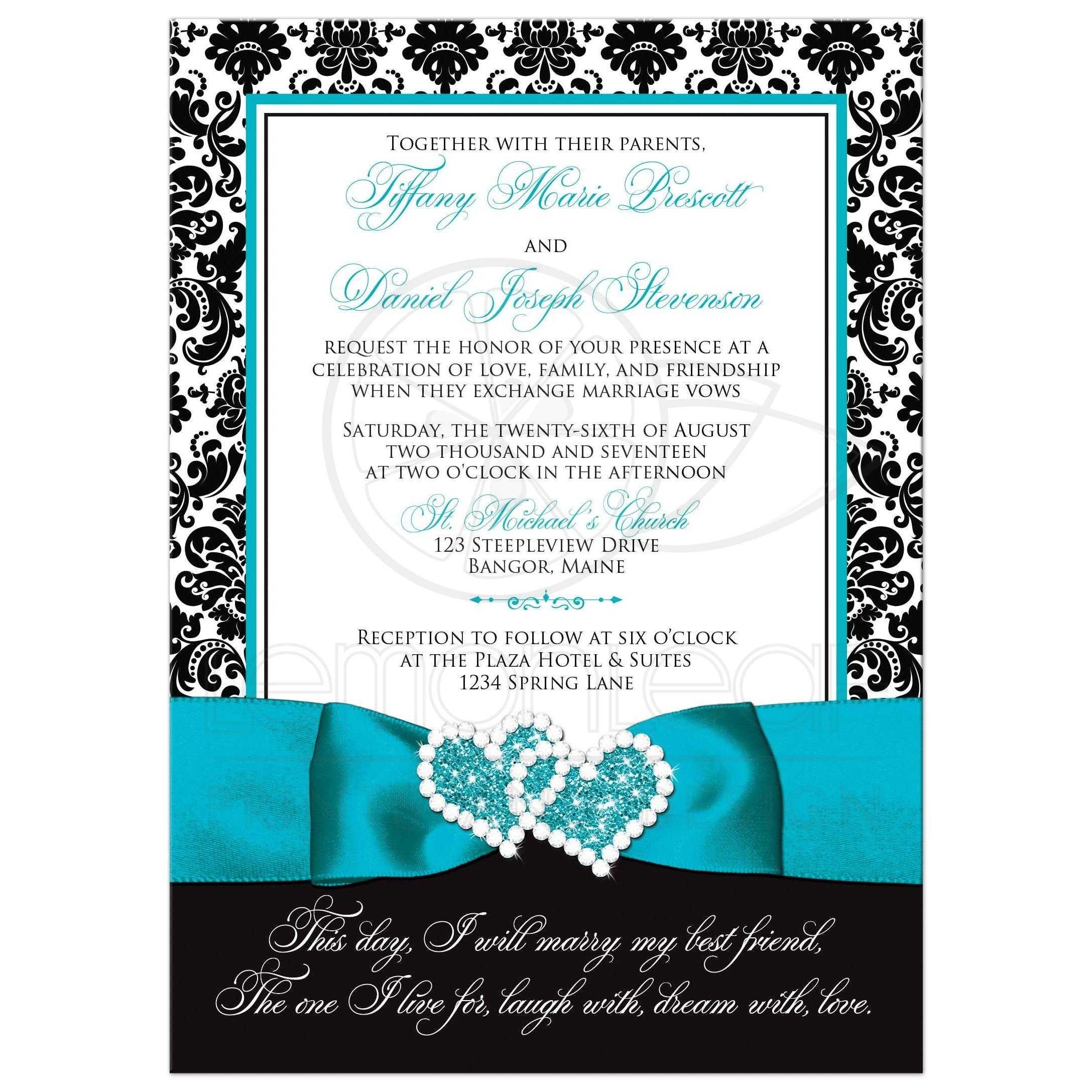 Wedding Invitation - PHOTO Optional | Black and White Damask ...