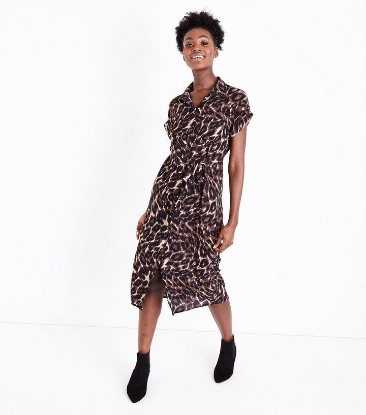 ec72998a157 Black Animal Print Midi Shirt Dress | Style | Midi shirt dress ...