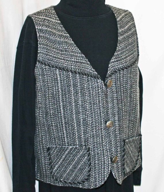 Hand Woven Gray Wool Vest hand made by countryweaverdesigns, $100.00
