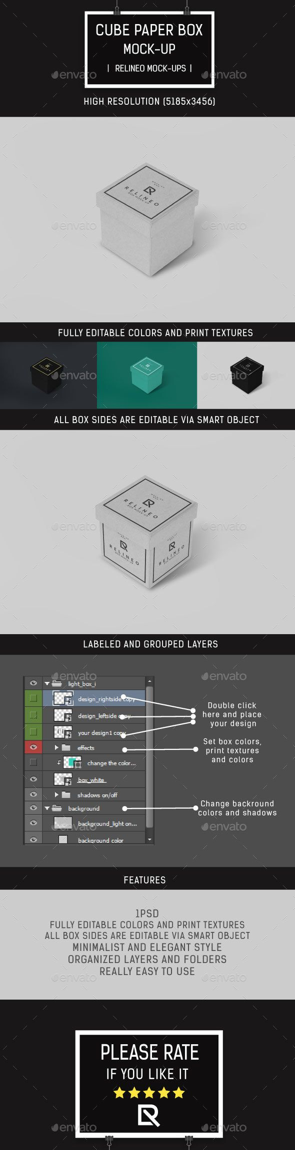 Cube Box MockUp  Mockup Font Logo And Brochures