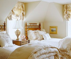 Cute puff valance - maybe put shade underneath?  For guest room