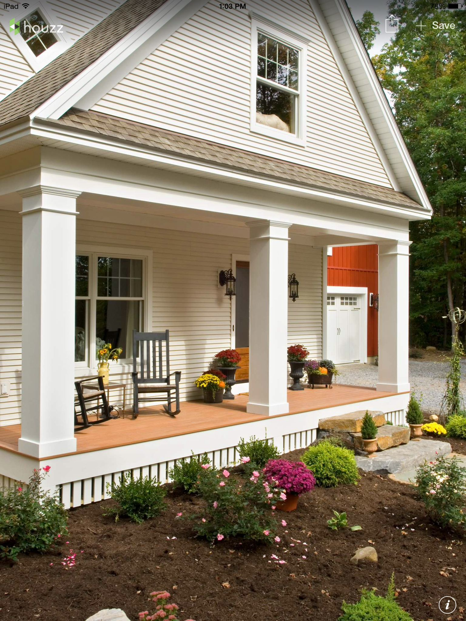 Farmhouse Front Porch Railing Ideas Open Porch No Railings So It 39s A Clear View Of Course A