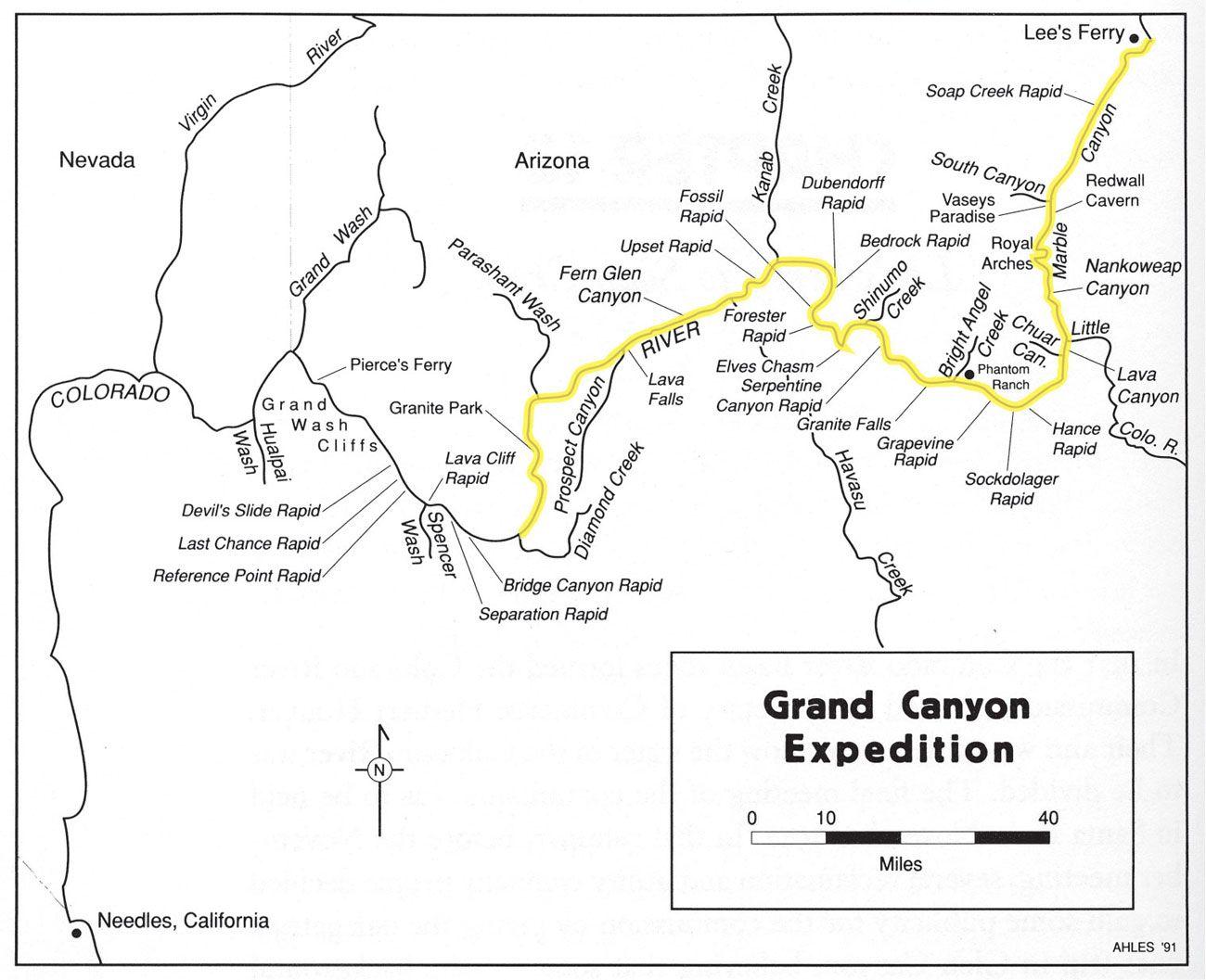 Grand Canyon River Expedition Map Grand Canyon National Park AZ US