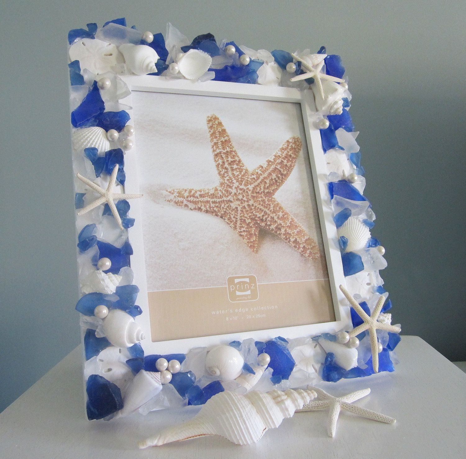 Beach decor sea glass picture frame nautical decor beach glass beach decor sea glass picture frame nautical decor beach glass photo frame beach glass frame sea glass frame 8x10 dark blue sgf810 jeuxipadfo Images