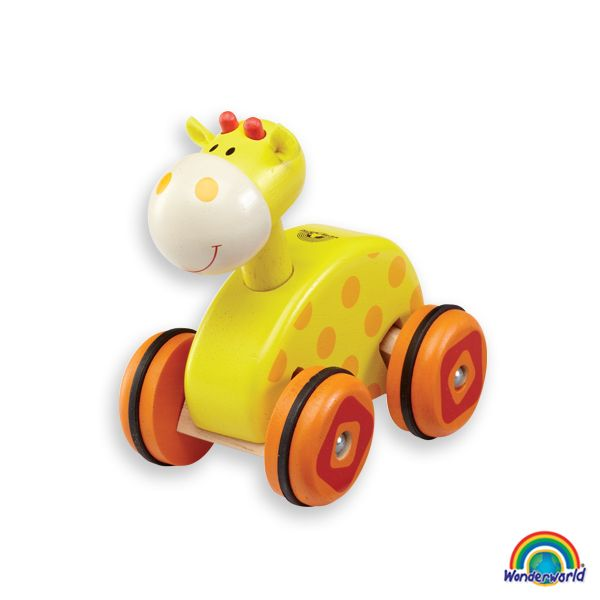 Wheely giraffe - Agradable vehiculo de madera del tamaño de la mano. Desarrolla la coordinación mano-ojo junto con los músculos de las manos. Encantador personaje de atractivos y brillantes colores que atraen la atención y concentración del niño. http://www.andreutoys.com/?busq1=12&id=608&Pag=1