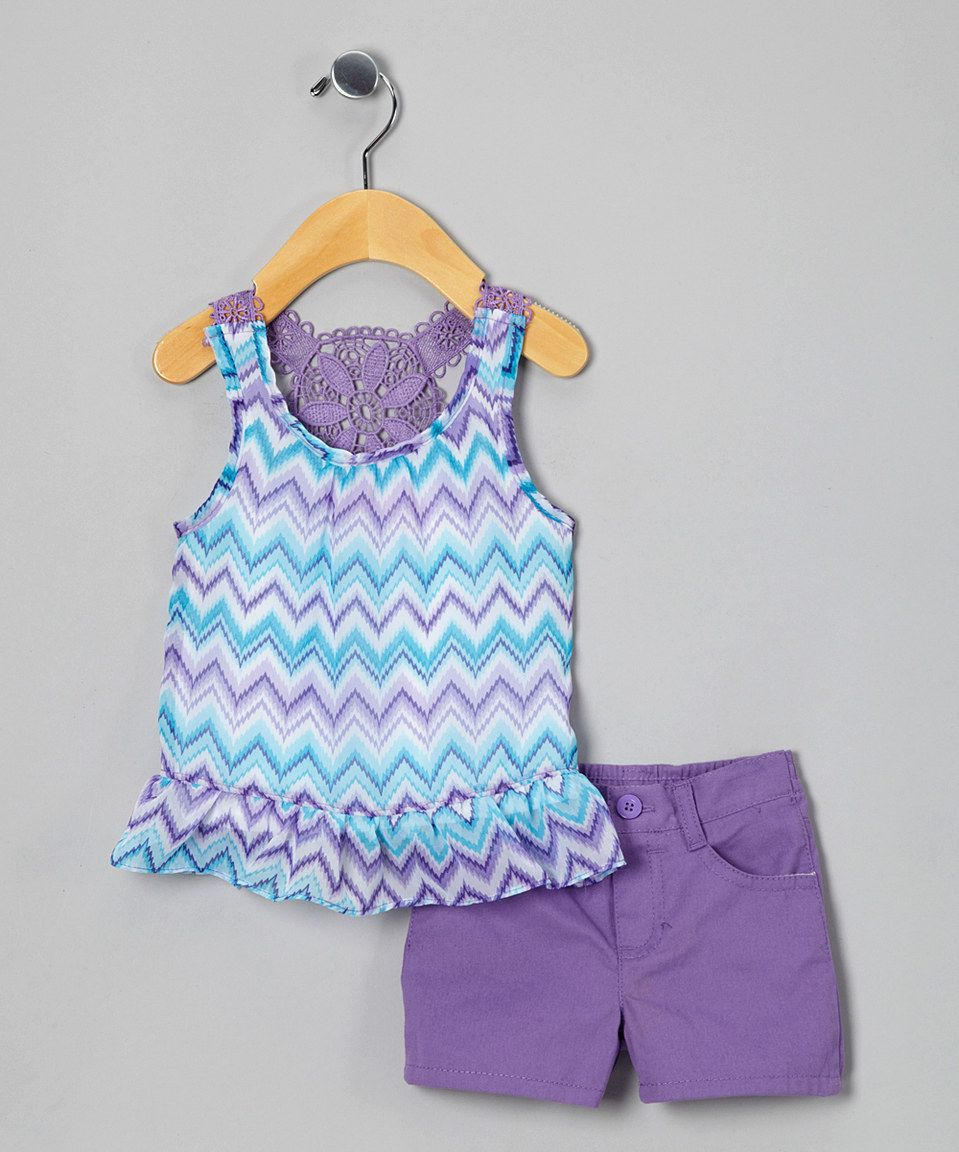 Look what I found on #zulily! Young Hearts Purple Zigzag Tunic & Shorts - Infant by Young Hearts #zulilyfinds