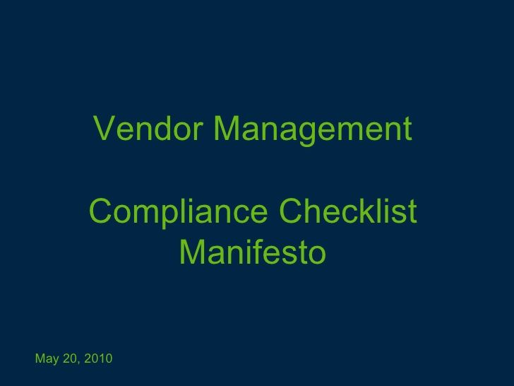 Vendor Management Compliance Checklist Manifesto Series In 2020 Management Manifesto Checklist