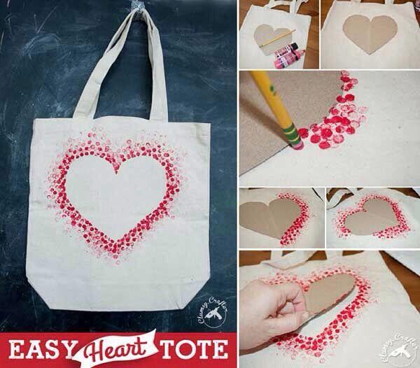 White Cotton Canvas Tote Bag Heart Canvas Tote Heart Tote Bag Valentines Day Tote Bag