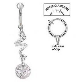 Fake Belly Navel Non Clip On Clear Cz Swirl Gem Dangle Ring Amazon