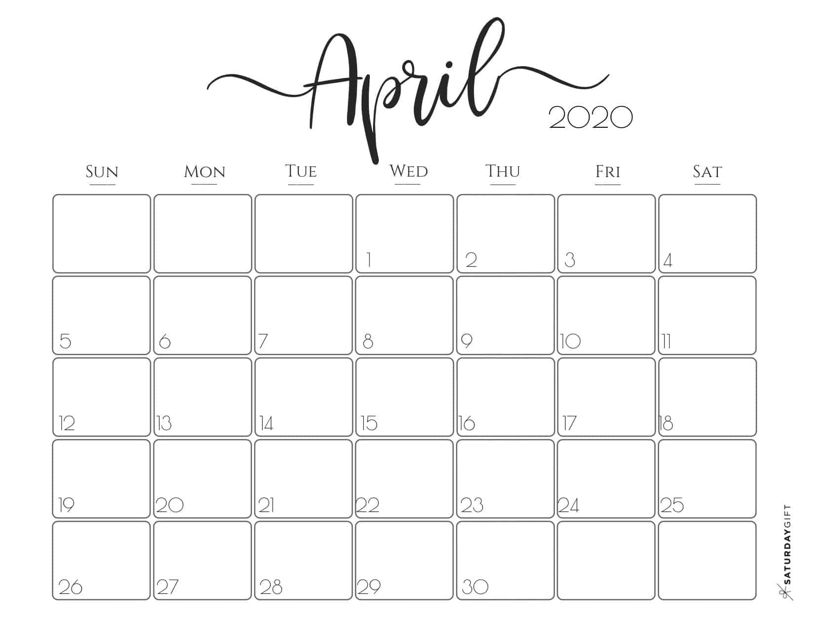 Cute Free Printable April 2020 Calendar In 2020 Monthly