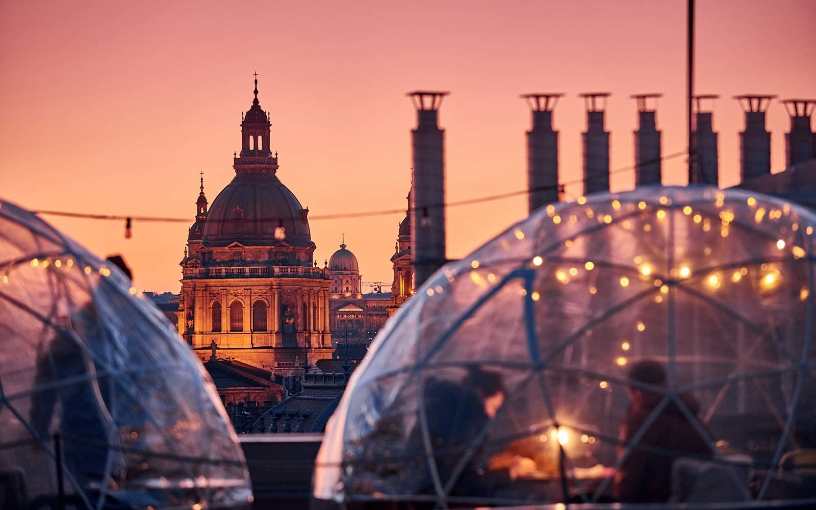 Enjoy A Drink In A Rooftop Igloo At This Bar In Budapest Budapest Winter Budapest Budapest Travel