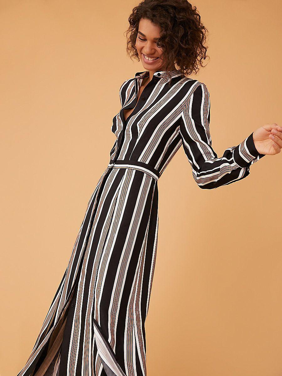 c9ff248a3ca Long-Sleeve Collared Flare Shirt Dress in Harley Stripe Black ...
