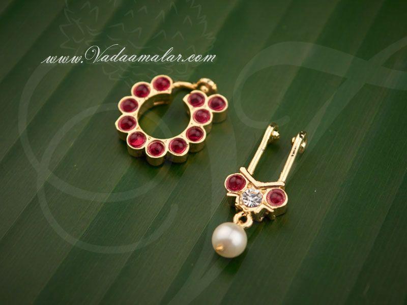 Radish Pink Color Stone Nath Bullak Bharatanatyam Dance Ornaments