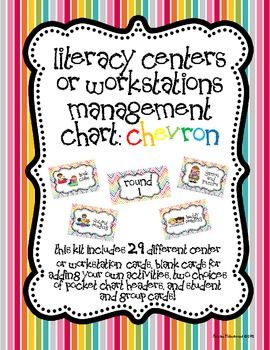 This management chart is the perfect tool for any classroom that uses centers or workstations. It includes 29 different center or workstation cards, plus blank ones for you to add your own! It also comes in six colors to match any classroom decor! $5.00