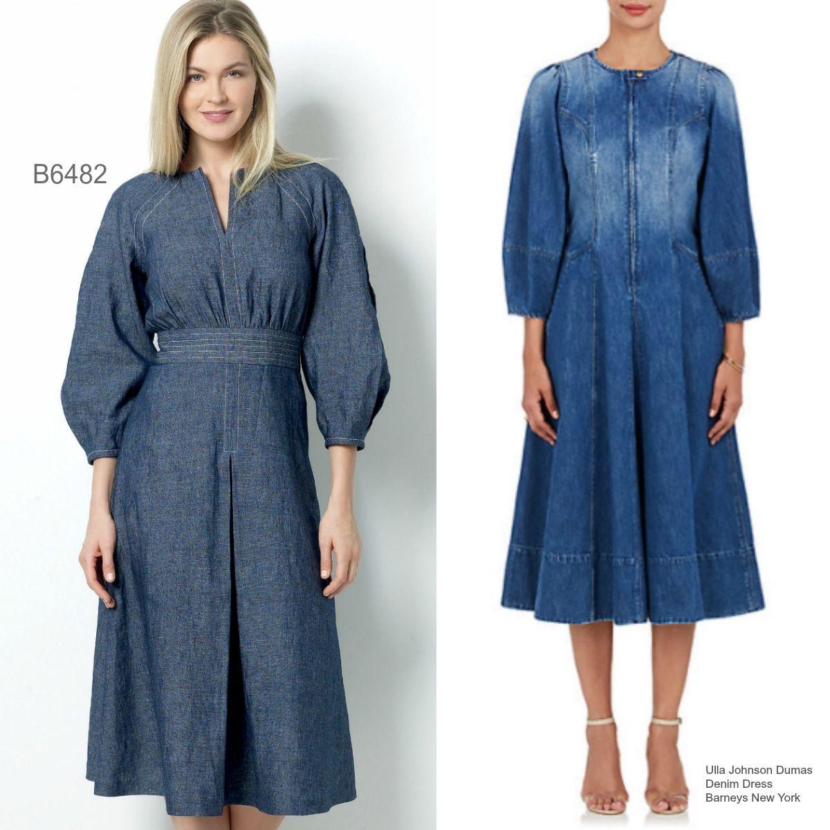 Sew the Look: Butterick B6482 Lisette denim dress sewing pattern.