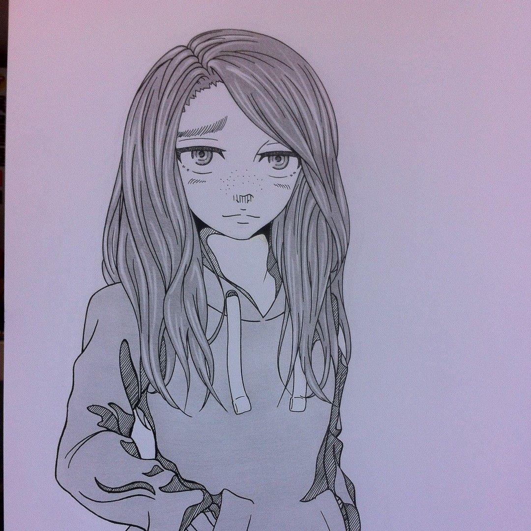 Hoodie girl mangaart manga anime oc hoodiegirl in