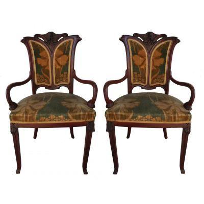 paire de fauteuil art nouveau dessus velours art nouveau y art deco pinterest art. Black Bedroom Furniture Sets. Home Design Ideas