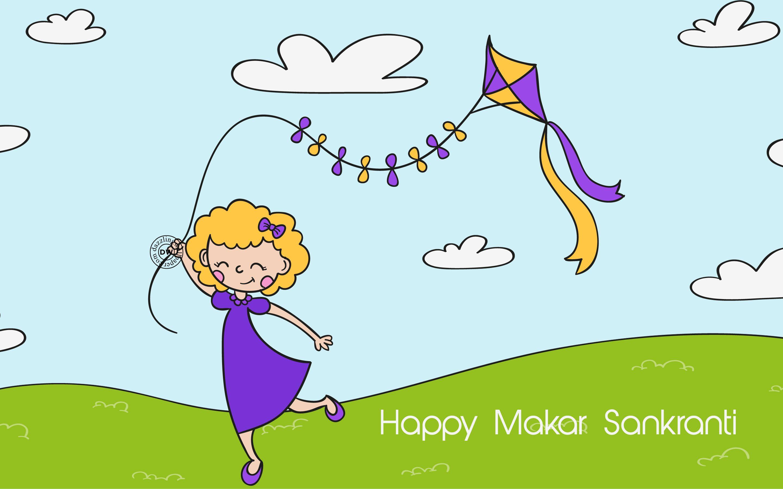 Happy makar sankranti kite flying day wallpaper makar sankranti uttarayan kite flying day