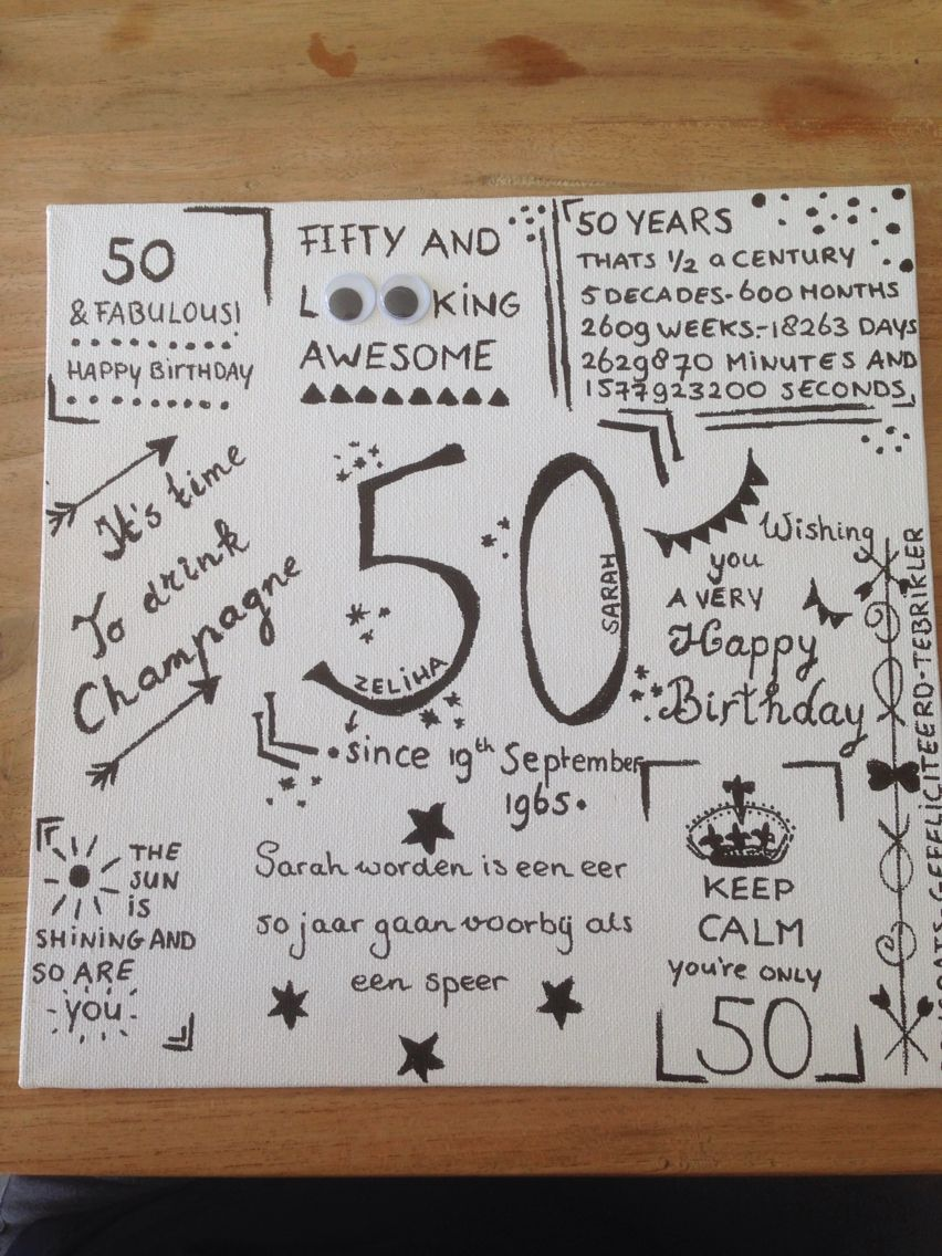 Vaak 50jaar #sarah #50thbirtday #cadeau #present | 50 jaar! | Pinterest #UX57