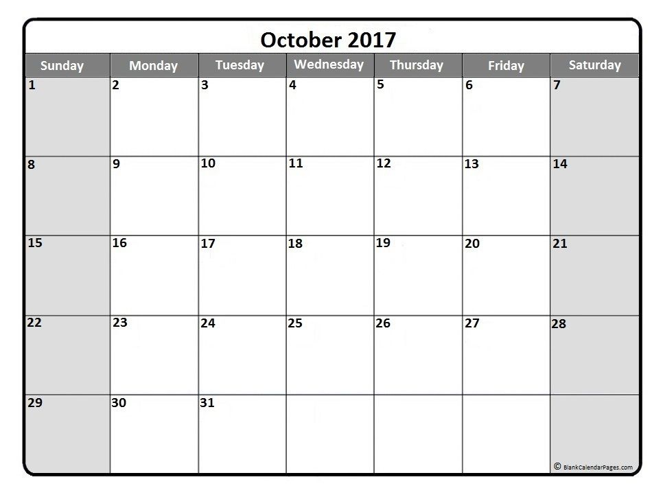 October 2017 monthly calendar printout Printable calendars - monthly calendar