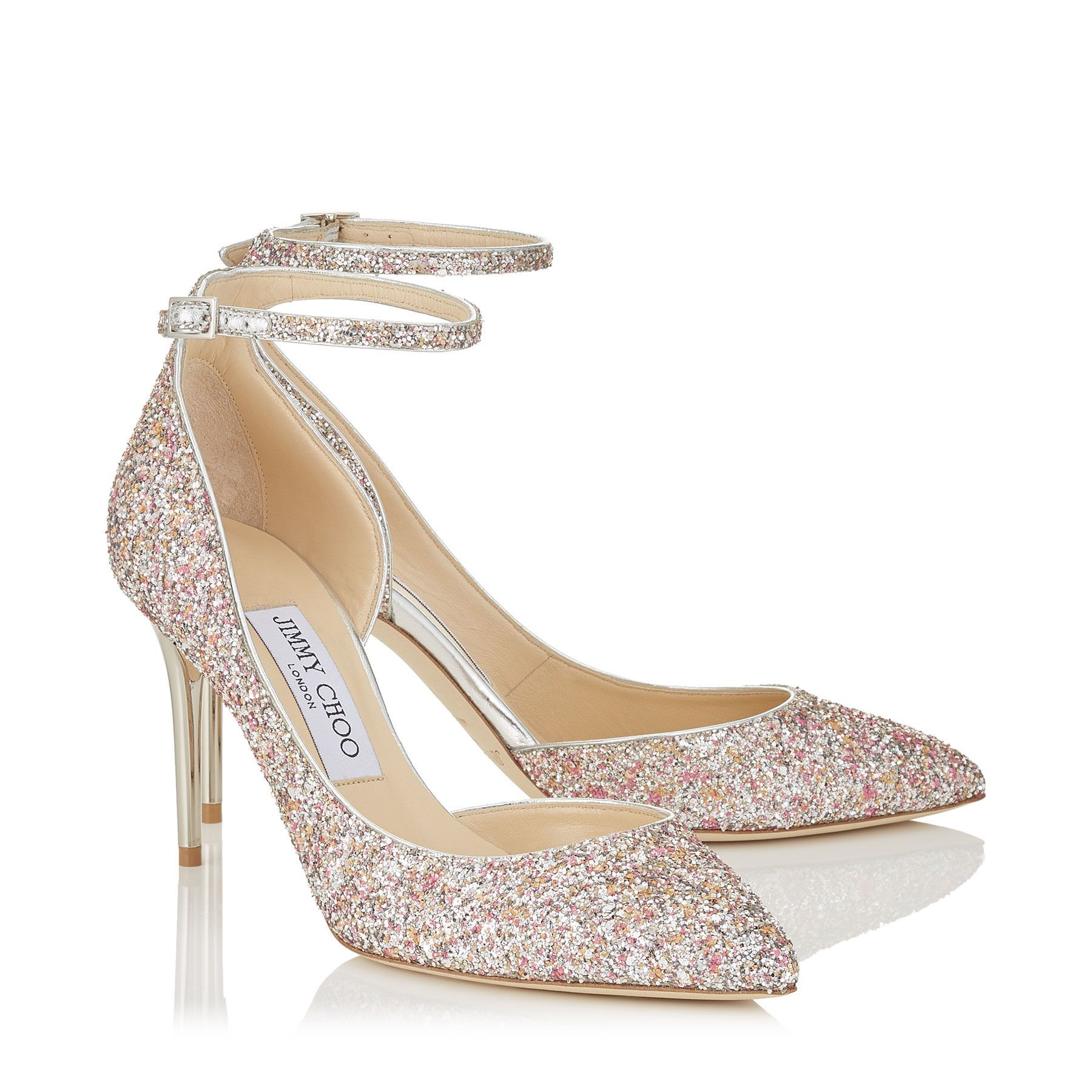 Camellia Mix Speckled Glitter Pointy Toe Pumps Lucy 85