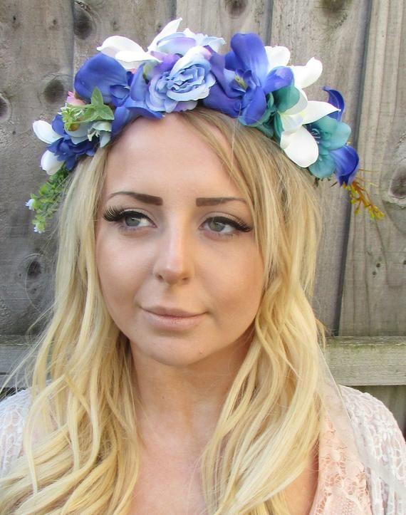 Blue White Purple Rose Flower Hair Crown Headband Vintage Daisy Wreath Boho Headdress Headpiece Garl #crownheadband