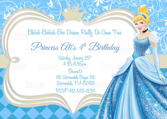 Printable Cinderella Birthday Party Invitation Plus FREE Blank Matching Thank You Card