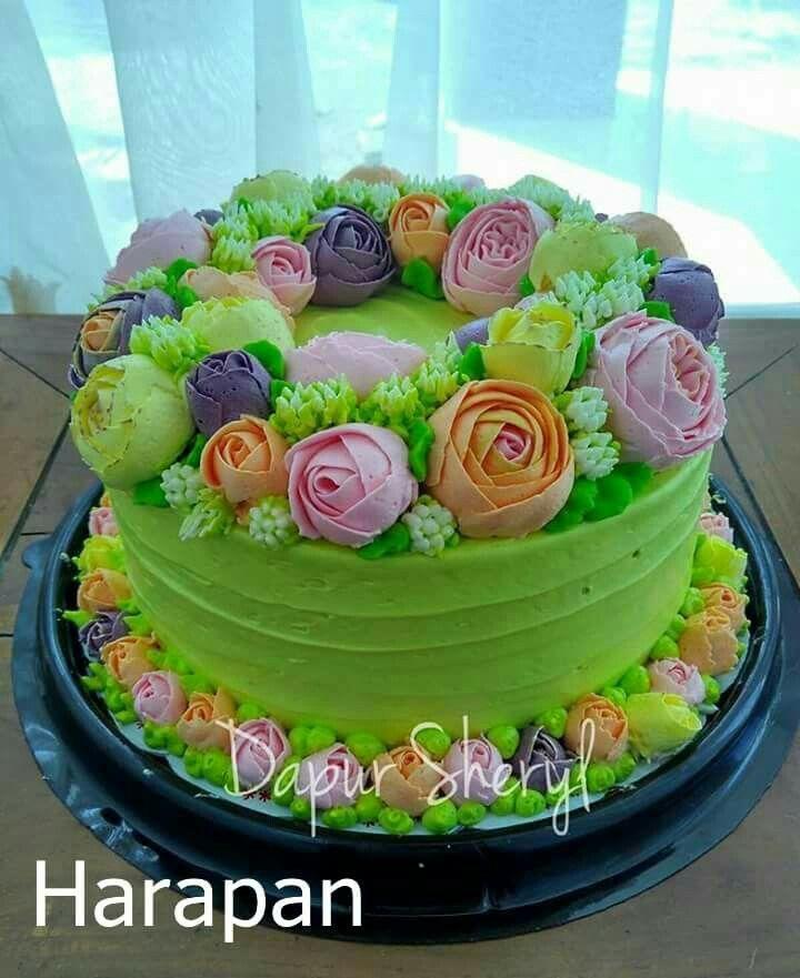 Tart Bunga Buttercream Cake Cake Desserts