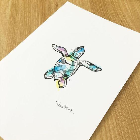 Small Geometric Turtle On Rainbow Watercolor Background Tattoo
