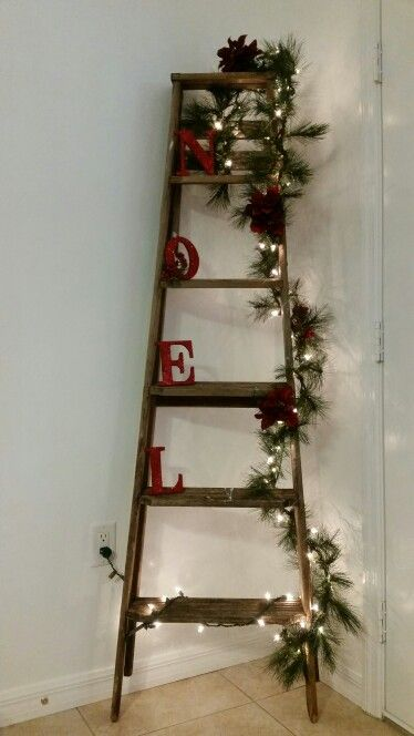Ladder Decor On Wall : Old wooden ladder christmas decorations change decor