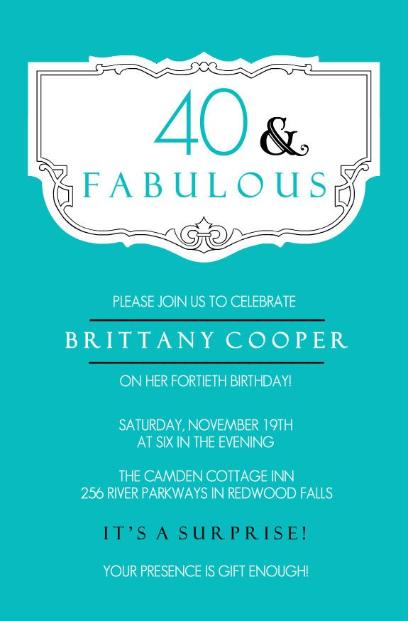 Teal And Fabulous 40th Birthday Invitation by PurpleTrail.com ...