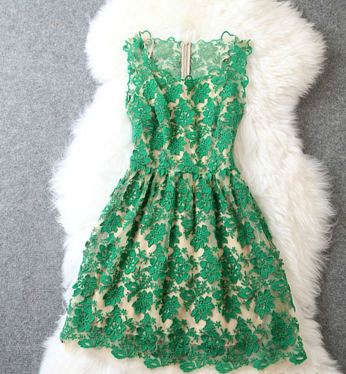 Beautiful Floral Lace Design Sleeveless Dress in 3 Colors