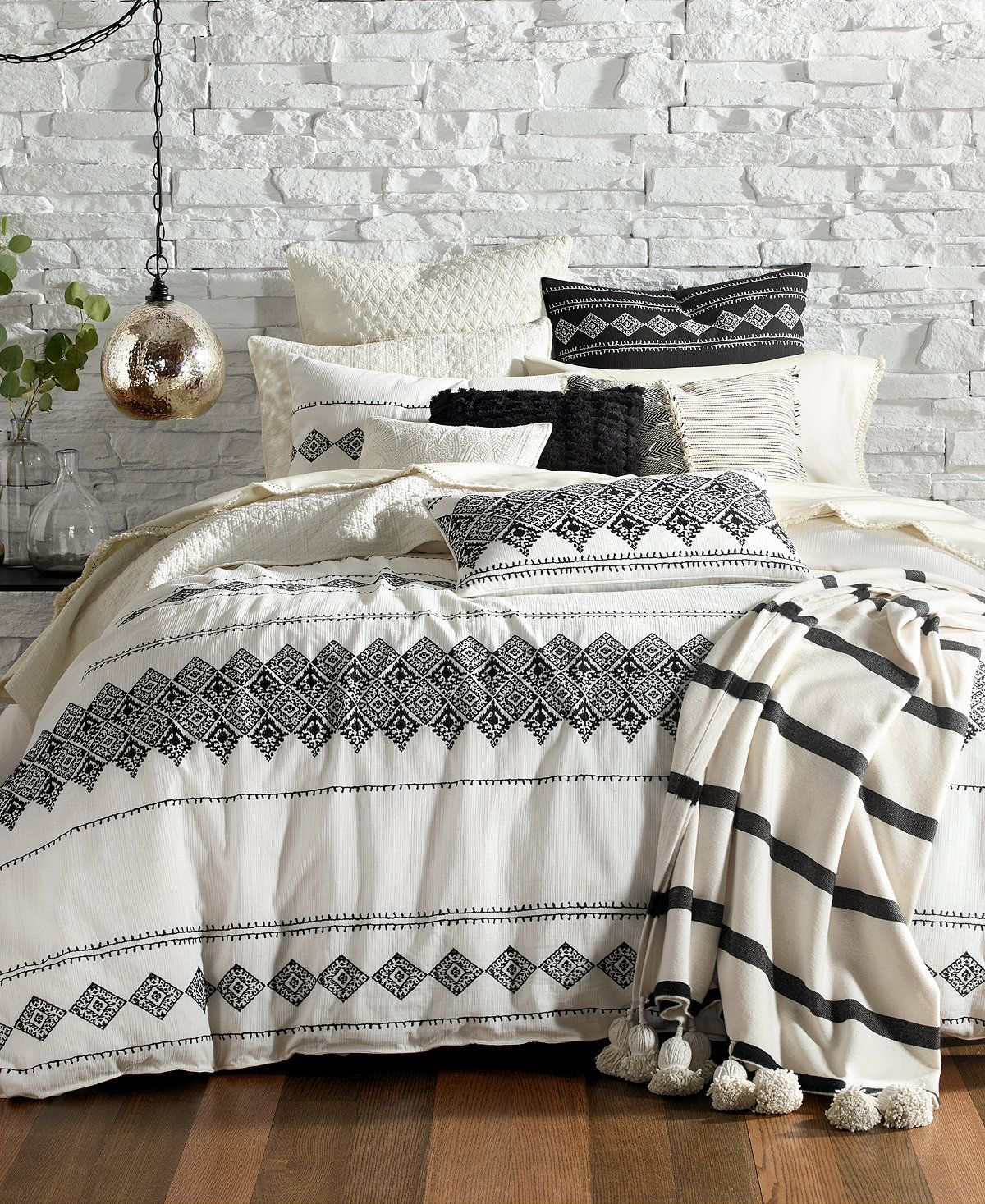 Lucky Brand Embroidered Ikat Bedding Collection Bedding