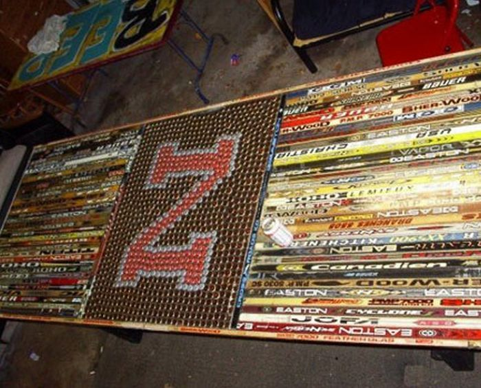 Beer Pong Table Made Of Hockey Sticks What Marissa Rose Hockey
